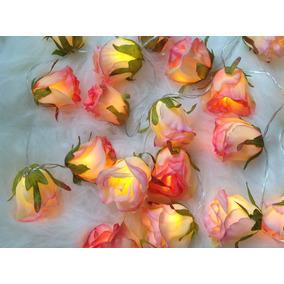 Luz De Fada, Cordão De Led A Pilha , Pisca Pisca Flores Rosa