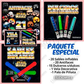 Palo De Piñata, 25 Antifaces, 25 Sables, 25 Dulceros Y Vela