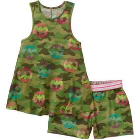 Blusa Y Shorts Camuflaje Militar Americano Talla 4-5 Y 6