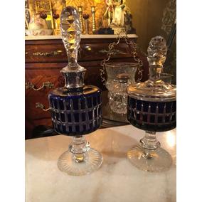 Perfumero Y Caramelera De Cristal Tallado Azul Precio X 2