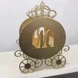 25 Carruagem Princesas Mdf - Dourada Cachepô Centro De Mesa