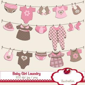 Kit Imprimible Ropa Bebe Nena 15 Imagenes Clipart