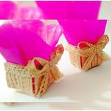 Mini Cestinhas Naturais Fazendinha Rosa / Casamento Rustico