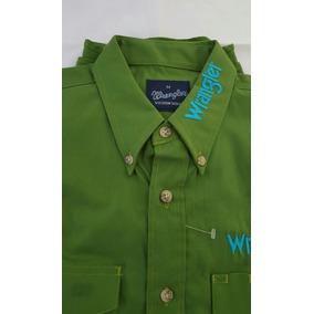Camisa Vaquera Wrangler Verde Con Bordado Azul Talla Eg