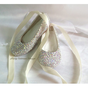 Hermosos Zapatos Flats Bautizo Primera Comunión Cristales