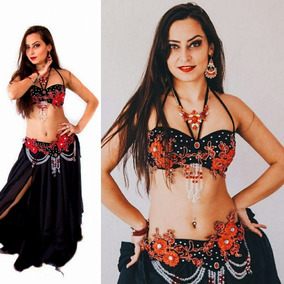 Roupa Traje Dança Do Ventre Promoção Preta Vermelha Linda