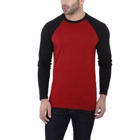 Camiseta Raglan Manga Longa Blusa Masculina 100% Algodão