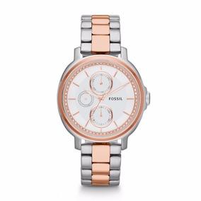 Relógio Fossil Es3356 Prata E Dourado Coleção 2017 Original