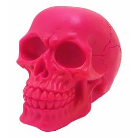 Crânio Caveira Rosa Fluorescente Resina Esqueleto Decorativo