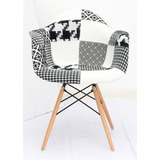 Silla Hood Patch C/brazos Negro/blanco Eames Kartell