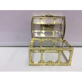 Mini Bau Acrilico Dourado Lembrancinha Pct 12 Unidades