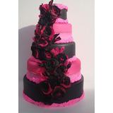 Bolo Fake Preto E Pink - Debutantes, Casamentos E Aniversári