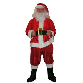 Disfraz Papa Noel Traje Barba Santa Claus Tafeta - Navidad
