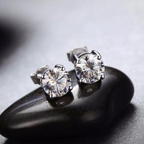 Aros De Plata Con Diamantes Ruso 8 Mm
