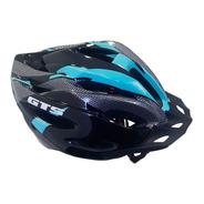 Capacete Com Sinalizador Led Ciclismo Bike Azul Tifany Gts