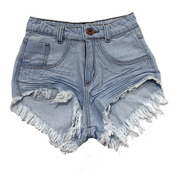 Shorts Jeans Branco Feminino Anitta Cós Alto Hot Pants St004
