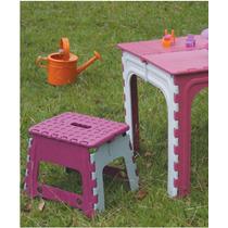 Jogo Mesa Com 02 Banquetas Plástico Dobrável Infantil Kit
