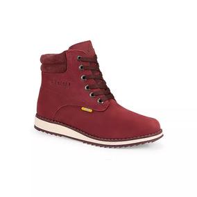 Zapatos Jeep Para Dama Mujer Botas De Piel Rojo