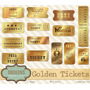 Kit Imprimible Golden Tickets 14 Clipart - Vectores.