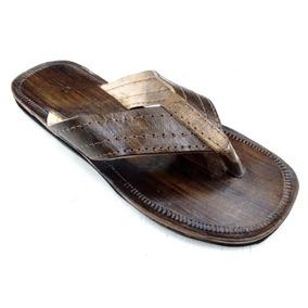 Chinelo Sandália Artesanal Em Couro Cru Rústico Masculino