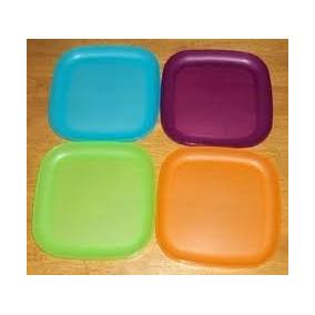 Las Placas De Tupperware 8 Pulgada Cuadrada De 4 Colores