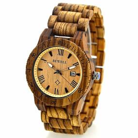Reloj Hombre En Madera Natural De Zebrano Moderno