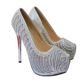 Zapatos Vip Para Bodas Novias Fiesta Noche Brillo Plateado