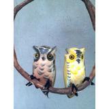 Casal De Corujas,pássaro De Madeira,aves Do Brasil,decoração