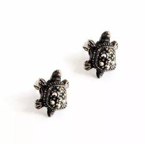 Aretes De Plata .925 Forma De Tortuga Color Negro Para Dama