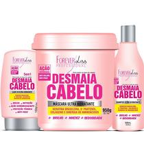 Desmaia Cabelo Shampoo, Leave In E Máscara 950g, Forever Lis