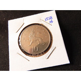 Bb#1558 Moneda 10 New Pence Leon Coronado