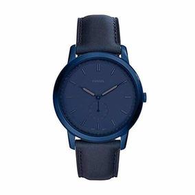 Reloj Fossil Fs5448 The Minimalist, Piel Azul Para Hombre