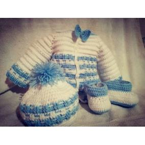 Chambrita Gorro Zapatos Para Bebé Tejido Crochet Enviógratis