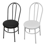 Cadeira Jantar Cozinha Milk Metal Aço Redonda Courino