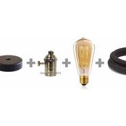 3 Portalampara Con Lampara Filamento Cable Textil Con Floron