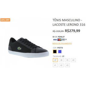 5dfe288c96a Lacoste Tamanho 43 43 Preto no Mercado Livre Brasil