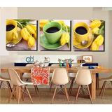 Quadros Café Com Flores Para Sala De Jantar 3 Peças