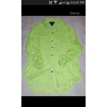 Blusa Verde Fluor Talla L Gasa