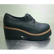 Zapatos Plataforma Sneaker Acordonados Eco Cuero
