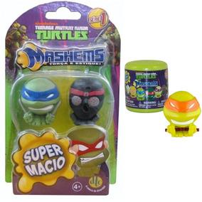 Coleção Com 3 Miniaturas Tartarugas Ninja Mashems Dtc 4,5cm