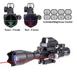 Mira Holográfica Punto Verde Y Rojo Y Telescopica + Laser