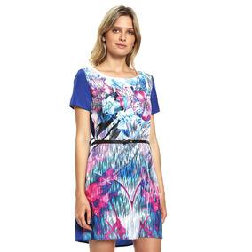 Vestido Azul Con Cinturón - West Avenue - 878676 - Azul