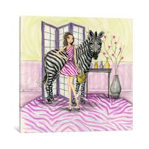 Pintura Arte Zoe And Zebra Canvas Art Print By Bella Pilar,