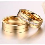 Par Alianças Casamento Aço Cirurgico Banhada A Ouro 18k