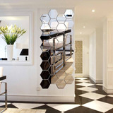 Espejo Hexagonal, H2mtool 12 Pcs 9cm Adhesivo De Pared De...