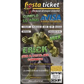 Invitaciones Hulk Personalizables