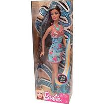Juguete Barbie Hairtastic Vestido Azul Morena Muñeca Del Pe