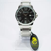 Relógio Masculino Unissex Atlantis Dourado Original Calendar