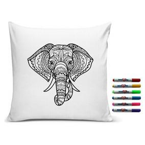 Almofada Elefante Indiano Para Colorir Inclui 6 Canetinhas