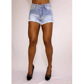 Shorts Jeans Biotipo Azul Rasgado Verão